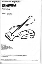 Sears Kenmore Canister Vacuum Cleaner Owner's Manual