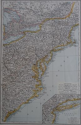 Victorian Map 1896 of USA UNITED STATES - NORTH EASTERN The Times Atlas 1st Gen