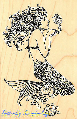- Mermaid with Seahorse Wood Mounted Rubber Stamp Stampendous Stamp P151 NEW