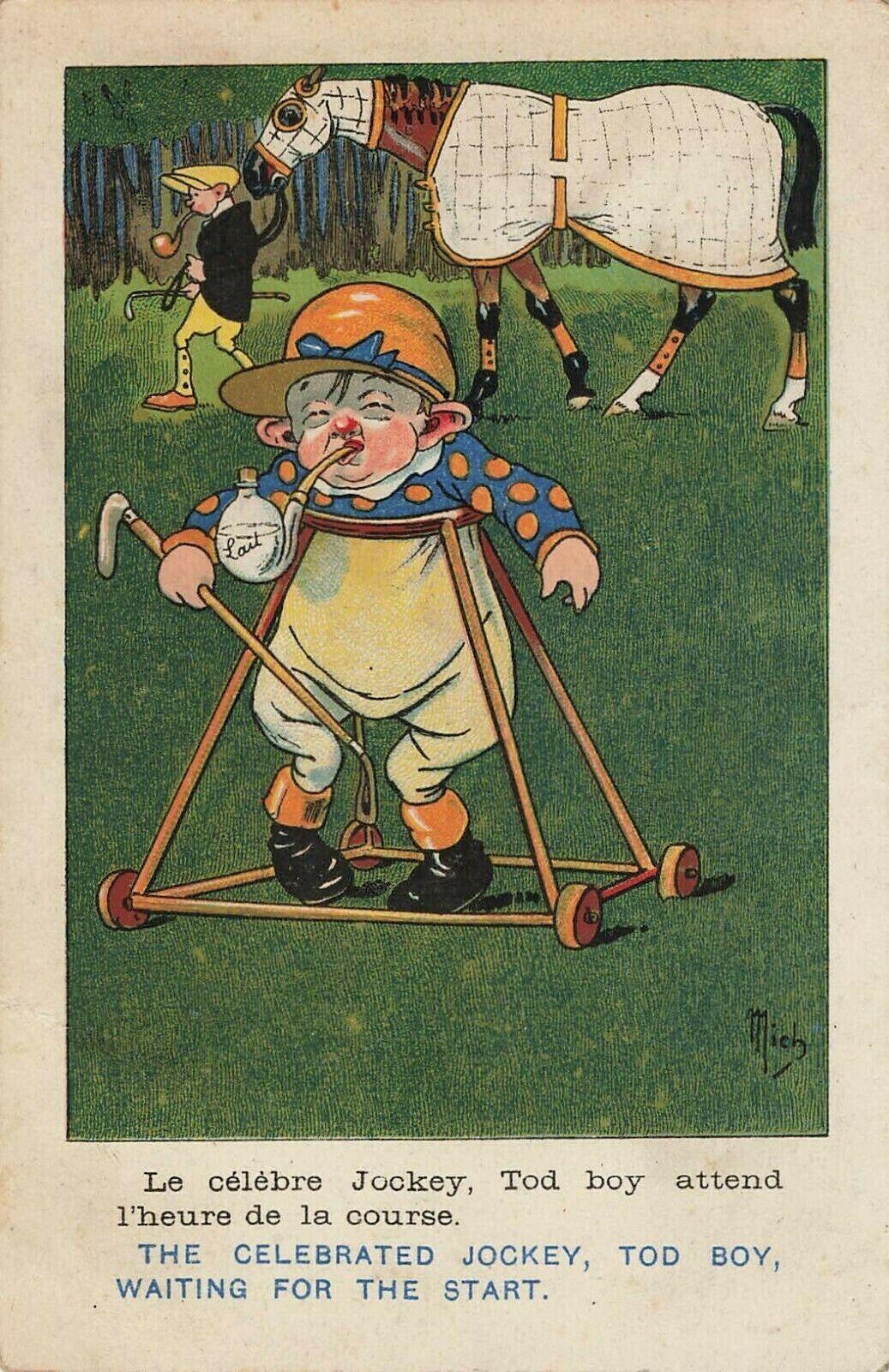 Comic Celebrated Jockey Tod Boy Waiting For The Start Antique Postcard