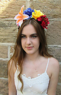 Frida Kahlo Flower Headband (Large Lily Rose Flower Headpiece Frida Kahlo Headband Blue Hair Crown Red)