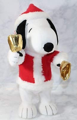 """Hallmark PEANUTS SNOOPY Christmas Bell Ringer Musical Motion 12"""" Plush with Tag"""