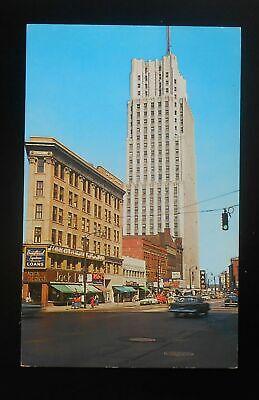 1960s Flatiron National Tower Bldgs Old Cars Stores Signs Traffic Light Akron (Flatiron Store)