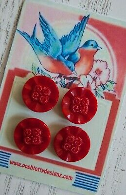 RARE Vintage 4 x 1940s UNUSED new Red Czech Glass Collectable Buttons Sewing 034