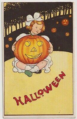 Halloween Girl holding a jack-o-Lantern Series 57 Vintage Postcard