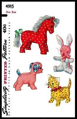 Advance 4915 Fabric Sewing Pattern Rabbit Cat Dog Horse Stuffed Animal Toy 7.5-9