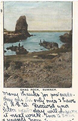 Sumner New Zealand Shag Rock Postcard 1905