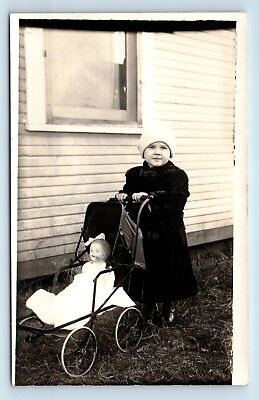 CHILD w/ BABY CARRIAGE & BELOVED TOY DOLL - PRE 1920 VTG PHOTO RPPC - A2 for sale  Shipping to Canada