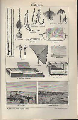 Lithografien 1907: Fischerei I/II. Fisch-Herings-Dampfer Angelfischerei Angeln