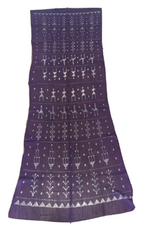 Purple Shawl Hip Scarf Assuit Tulle Belly dance tribal Egypt Silver Strips