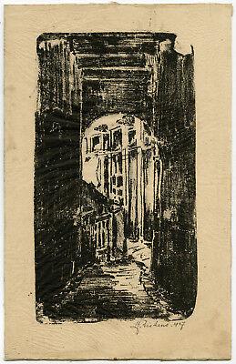 Antique Print-STREET SCENE-ALLEY-Siskens-1927