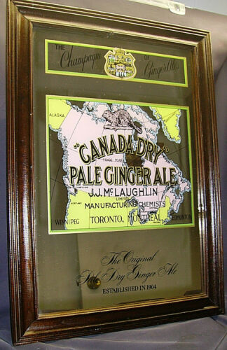 CANADA DRY PALE GINGER ALE MIRROR~J.J.McLaughlin~VINTAGE~FRAMED WALL ART