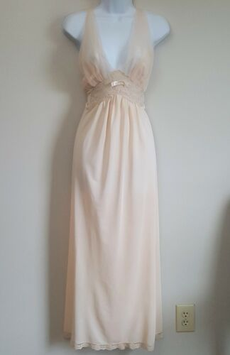 Vintage ARISTOCRAFT Nightgown Negligee Gown Chiffon Overlay Lace Accent Sz L