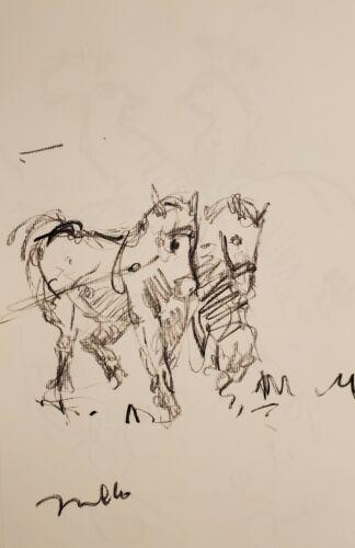 JOSE TRUJILLO - Original Charcoal Paper Sketch Drawing 11X17 HORSES SIGNED