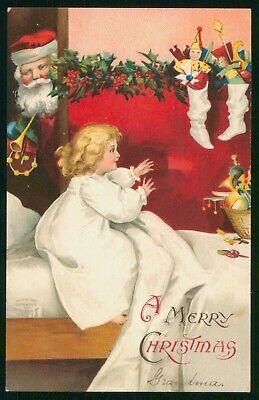 Mayfairstamps Christmas Santa & Child Art Postcard wwp2435