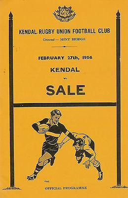 Kendal v Sale 27 Feb 1954 RUGBY PROGRAMME