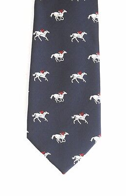 Horse Running Neck Tie Horse Racing Gift Gift Navy Blue Ideal Gift