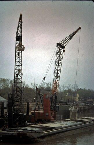 Orig Slide, 2 x Vintage Cranes loading a Bulk Carrier Ship / Barge