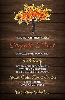 Wedding Invitations Fall Tree & Wood Rustic Country 50 Invitations & RSVP Card (Tree Wedding Invitations)