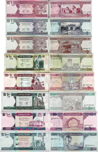 Afghanistan set 8 pcs 1+2+5+10+20+50+100+500 Afghani Pick 64-76 UNC random years