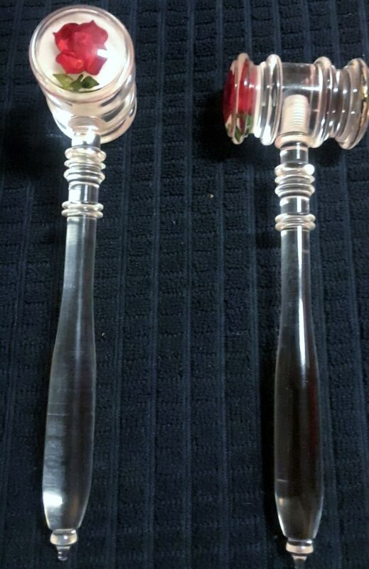 "8"" Lucite (Acrylic) Gavel With Hand Carved Rose on One Side of Head"