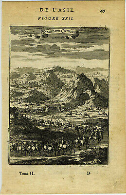 1683 Genuine Antique print Funeral Procession, China. by A.M. Mallet