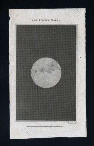 1809 Astronomy Print Planet Mars Solar System Telescope Celestial Antique