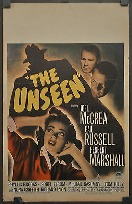 THE UNSEEN 1945 ORIG 14X22 WC MOVIE POSTER JOEL McCREA GAIL RUSSELL