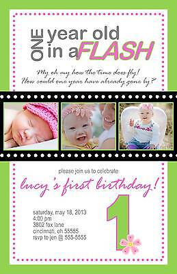 First Birthday Invitation Photo Filmstrip One in a Flash Any Colors Boy or Girl - One Photo Invitation