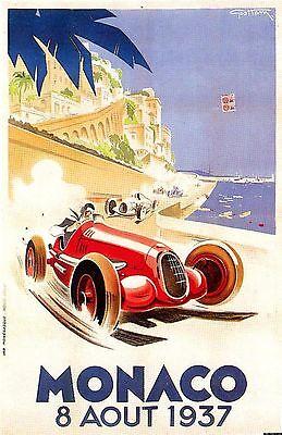 POSTER LOCANDINA vintage Monaco Grand Prix Automobile corsa champion TOPQUALITY