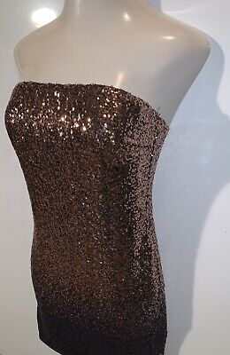Womens Rose Gold to Purple Sequence Strapless Tube Top Clubbing Party Dress ~  - Gold Sequence Top