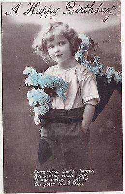 A HAPPY BIRTHDAY - Child & Flowers - #W2170 - Greeting - c1900s era postcard