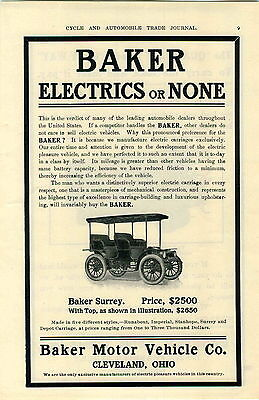 1905 AD Baker Electric Automobile Car Cleveland Ohio Quadway Truck Garland Stove