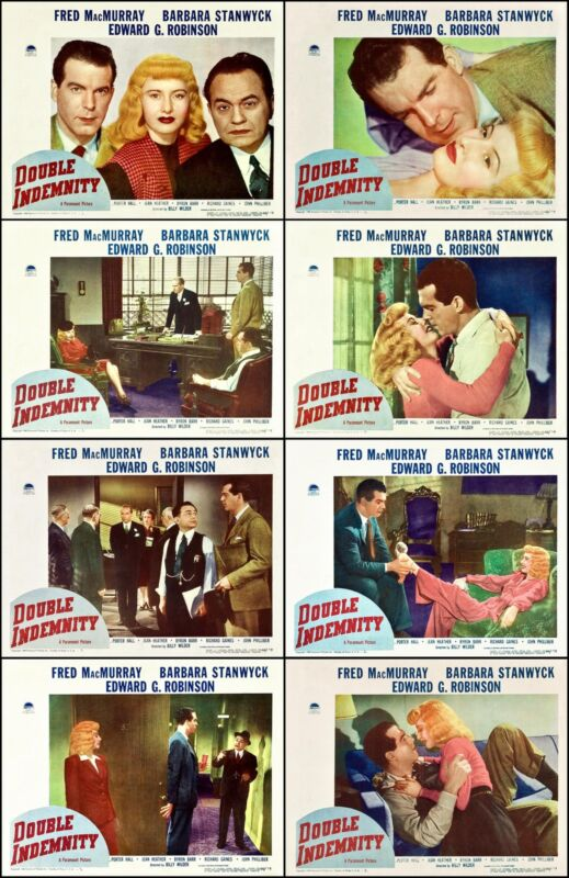 DOUBLE INDEMNITY NOIR STANWYCK Complete Set Of 8 Individual 11x14 LC Prints 1944