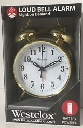 Westclox Twin Bell Gold Tone Analog Alarm Clock Battery Powered