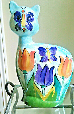 """Turov Ceramic Butterfly Art Cat Figurine Hand Painted Signed 15 1/2"""" Russian"""