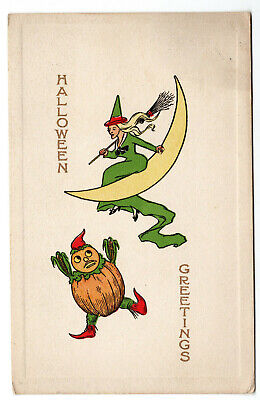 Vintage 1911 Postcard- Halloween Greeting- Witch on Moon & Falling Pumpkin