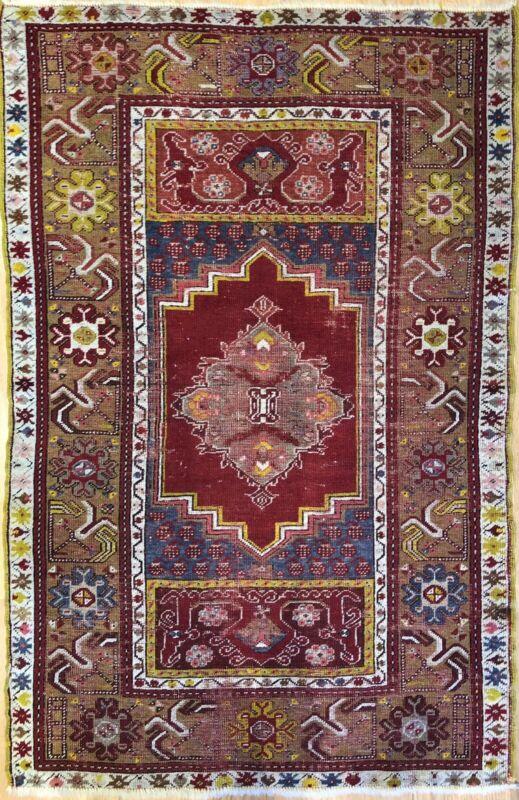 Amazing Anatolian - 1900s Antique Turkish Rug -  Tribal Carpet - 3.3 X 5.1 Ft.