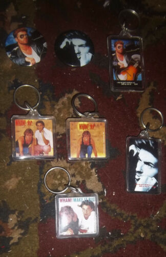 GEORGE MICHAEL Wham lot of Vintage Pins Keychains