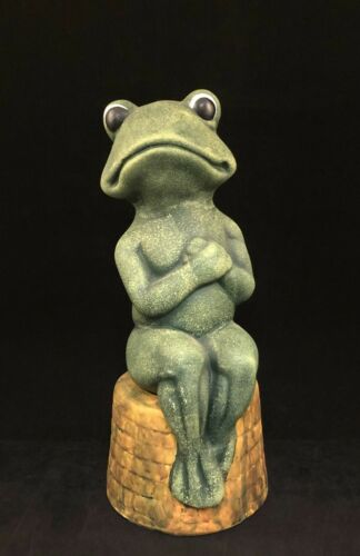 Vintage Ceramic Green Frog Sitting on a Round Brick Well Wall Hands Over Heart