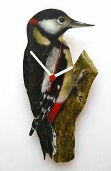 WOODPECKER HAND MADE WOODEN WALL BIRD WATCHERS CLOCK WILDLIFE COLLECTION