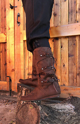 Brown Renaissance Fair Medieval Peasant Pirate Costume Knee Boots Mens size - Renaissance Peasant Shoes