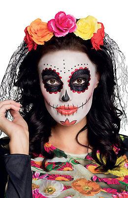Flower Hats For Halloween (Ladies Flower Tiara & Black Veil Halloween Day of the Dead Fancy Dress)