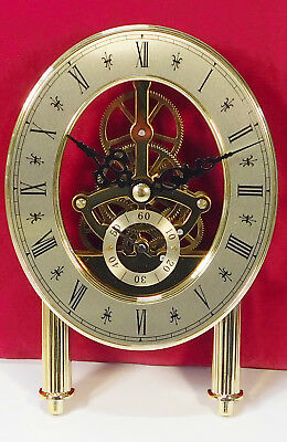 Anniversary Quartz Skeleton Clock Movement With OVAL Dial Gold 5 7/8