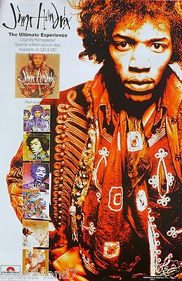 "JIMI HENDRIX ""ULTIMATE EXPERIENCE"" U.K. PROMO POSTER-Jimi Next To 7 Album Covers"