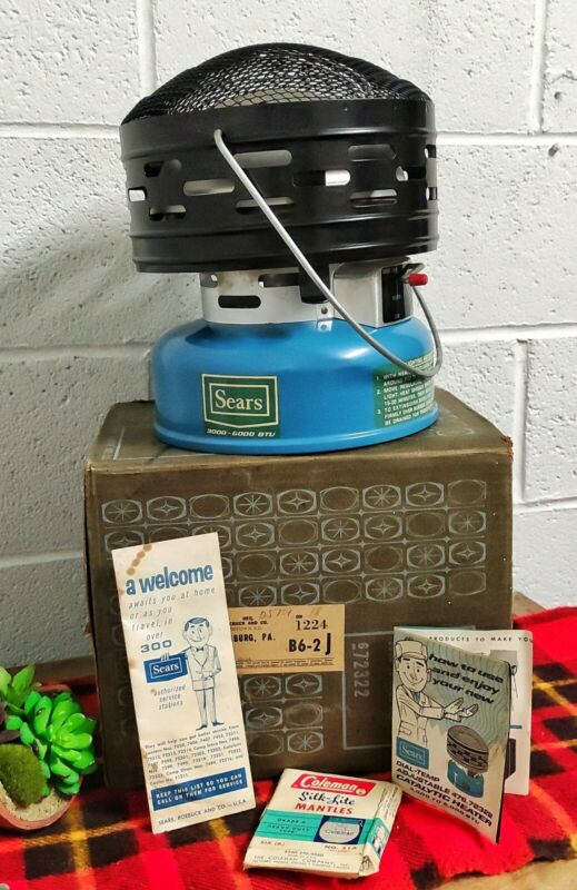1968 VTG Sears Blue Catalytic Camping Tent Heater 5000BTU USA  *MINT CONDITION*