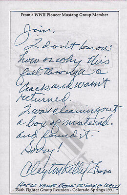 HANDWRITTEN NOTE SIGNED by FIGHTER ACE (CLAYTON KELLY GROSS)!