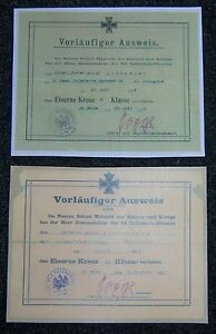 GERMAN - Small, Iron Cross 1st & 2nd Class, Award Certs. Named to Same Soldier.