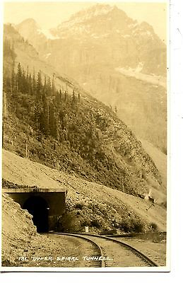 Upper Spiral Tunnel-Pacific Rail Tracks-Canada-RPPC-Real Photo Vintage Postcard ()