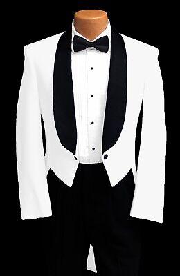 Kids Tuxedo Costume (Boys Size White Tuxedo Tailcoat w/ Black Shawl Lapel Retro Theater Costume)